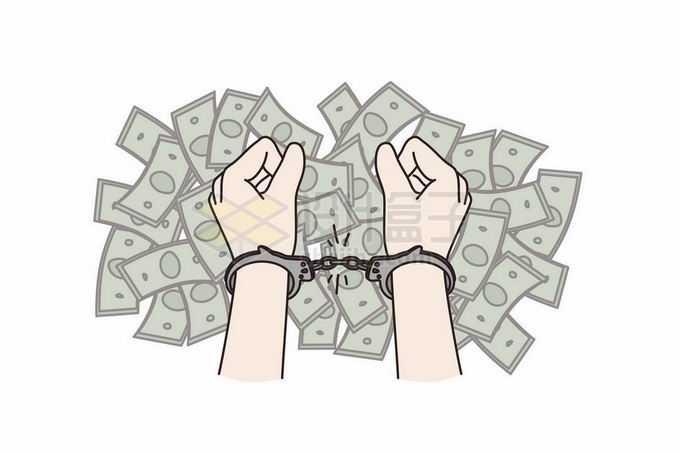 面对金钱的诱惑被手铐铐起来的双手象征了金融犯罪伸手必被抓手绘插画7507749矢量图片免抠素材