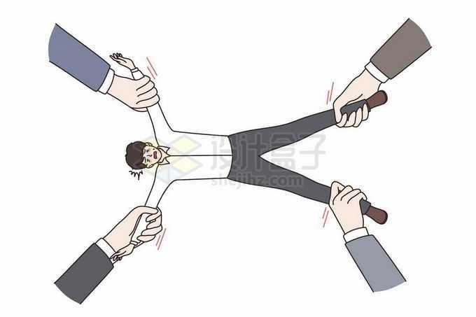 被人拉着四肢的男人象征了上班族身不由己手绘插画4340256矢量图片免抠素材