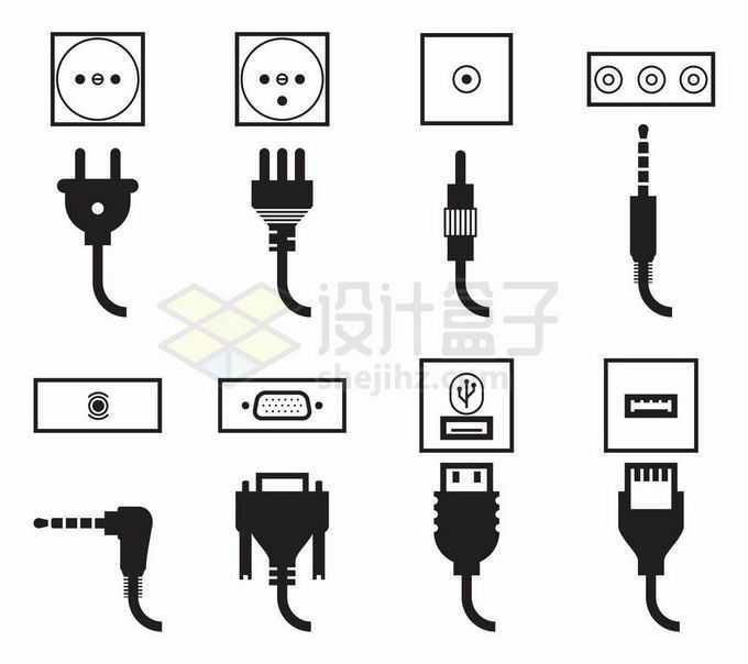 各种电源插头和接口耳机显示器USB接口等3540034矢量图片免抠素材