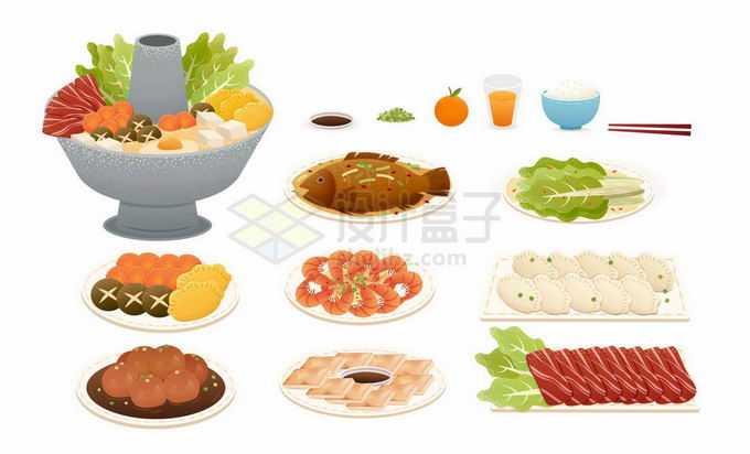老北京铜火锅和各种火锅食材1765354矢量图片免抠素材