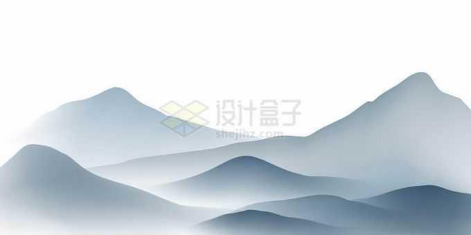 晨雾弥漫的远山中国风山水画水墨画风景1117894矢量图片免抠素材