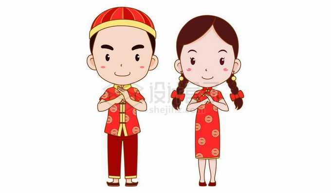 新年春节身穿喜庆红色衣服的中国传统服饰卡通男女拜年2903486矢量图片免抠素材