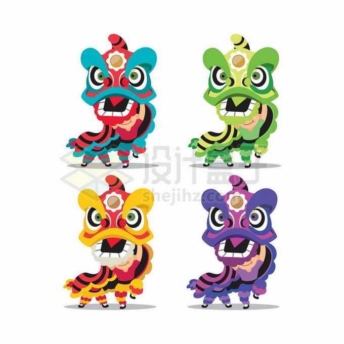 4种颜色的舞狮子表演6284979矢量图片免抠素材