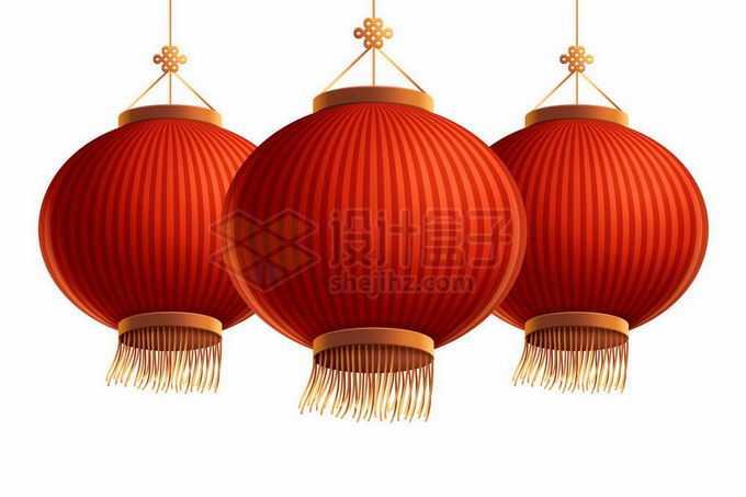 3个挂起来的大红灯笼新年春节喜庆挂饰装饰6126457矢量图片免抠素材