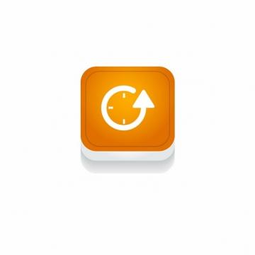 橙色时钟箭头时间3D立体圆角图标529273免抠图片素材