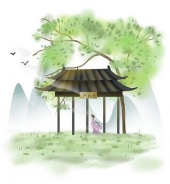 中国风彩色水墨画风格春天绿树门牌楼少女远山风景图片免抠素材