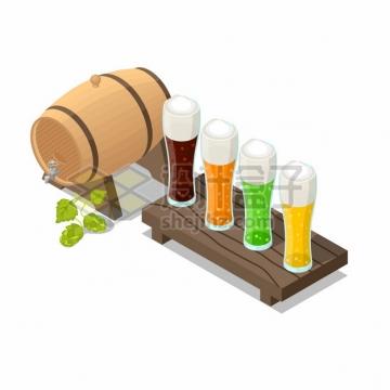 四种颜色的啤酒和酒桶木桶png图片素材