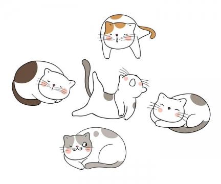 五种不同风格的卡通猫咪睡姿图片免抠素材