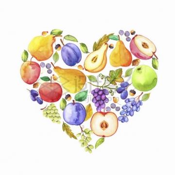 香梨苹果葡萄组成的心形图案水彩插画png图片素材