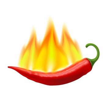 燃烧着火焰的红色尖辣椒象征辣度变态辣png图片免抠矢量素材