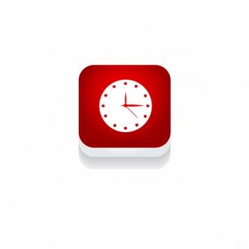红色时钟钟表时间3D立体圆角图标272535免抠图片素材