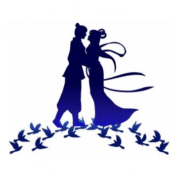 深蓝色七夕节鹊桥幽会的牛郎织女剪影948307png图片素材
