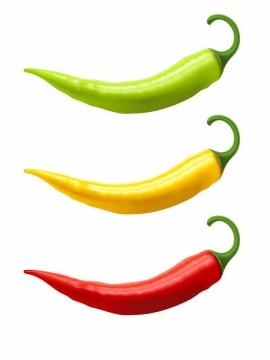 绿色黄色和红色尖辣椒美味蔬菜png图片免抠矢量素材