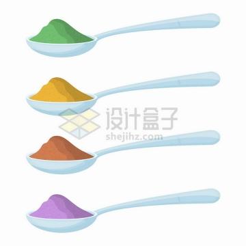 卡通汤勺中的不同颜色的粉末png图片免抠矢量素材