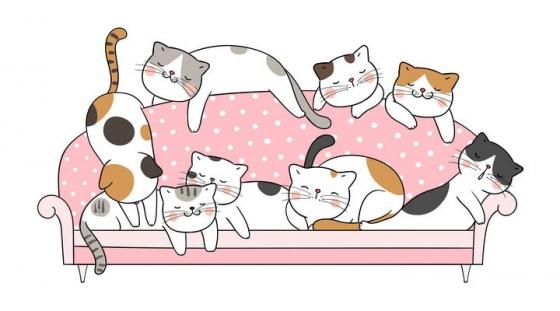 一群手绘可爱卡通猫咪躺在沙发上图片免抠素材