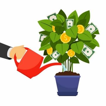 红色浇水壶正在浇花盆栽中长出金币和美元的绿植png图片免抠矢量素材