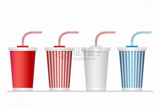 带吸管的4种颜色一次性咖啡杯png图片免抠矢量素材