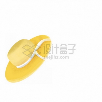 白色飘带的黄色帽子太阳帽png免抠图片素材