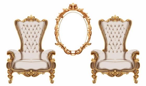 2款复古西欧宫廷座椅和镜子图片png免抠素材