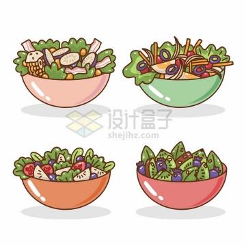 4款MBE卡通风格蔬菜水果色拉拼盘png图片免抠矢量素材