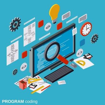 2.5D效果的设计师的电脑桌面元素图片免抠素材