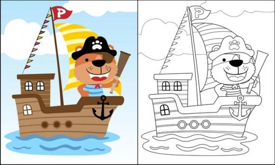 海盗船身上的卡通小熊简笔画图片免抠素材