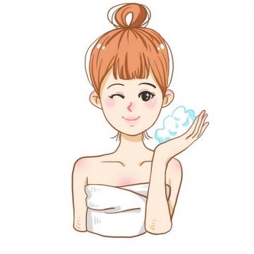 卡通美女正在洗澡玩肥皂泡962999png图片素材