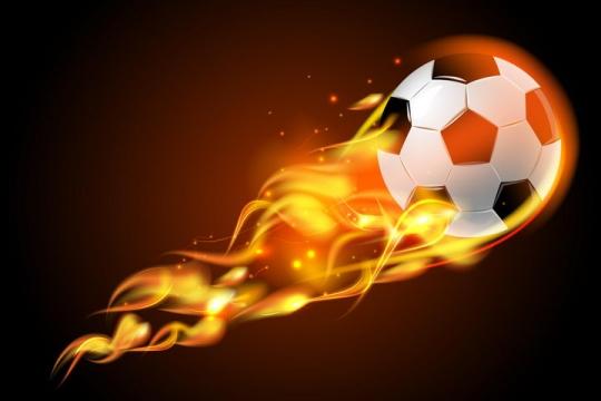飞行中燃烧着火焰的足球png图片免抠矢量素材