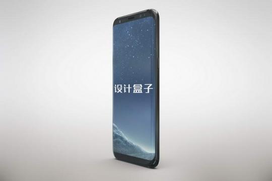 竖直放置的黑色三星手机屏幕样机展示图片设计模板
