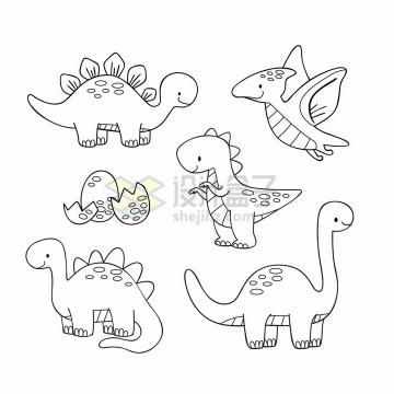 各种可爱的卡通恐龙简笔画儿童插画png图片免抠矢量素材