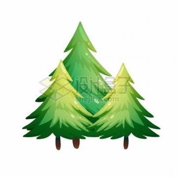 三棵松树雪松大树漫画插画315081png图片素材