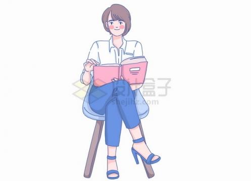 卡通女孩坐在椅子上看书彩绘插画png图片素材