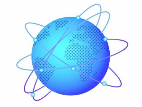 蓝色的地球和科技风格线条环绕768480png图片素材