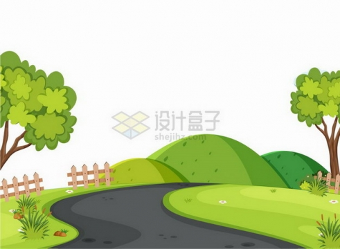 春天夏天黑色的路面和两旁的草地以及远处的青山小山坡乡村风景插画png图片免抠矢量素材