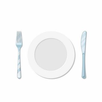俯视视角的空白盘子瓷器和淡蓝色的刀叉西餐用具png图片免抠矢量素材