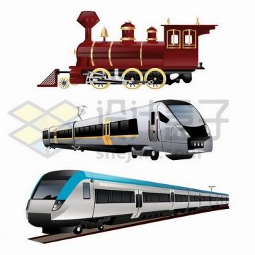 复古蒸汽火车头和动车车头png图片免抠矢量素材