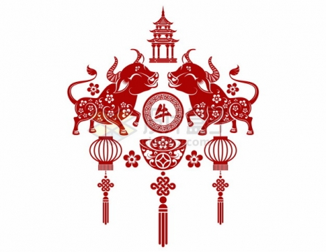 2021年牛年中国风红色剪纸贴花窗花183447png矢量图片素材