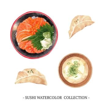 水彩画风格生鱼片饺子等美食图片免抠矢量素材