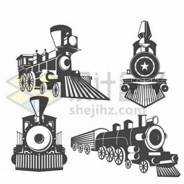 4款复古蒸汽火车头图案png图片免抠矢量素材