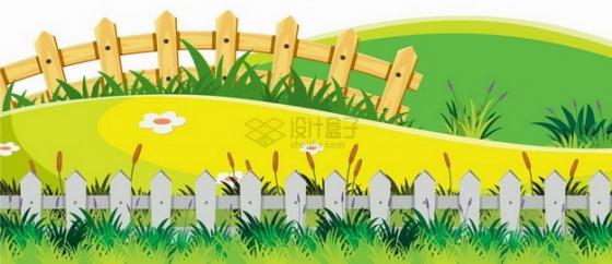 春天夏天卡通青山小山坡和木栅栏乡村风景插画png图片免抠矢量素材