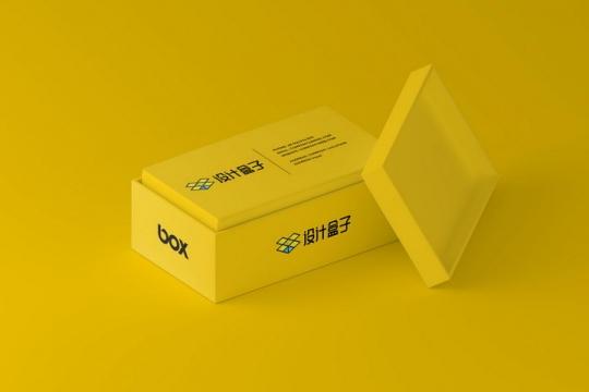 黄色色调名片盒品牌宣传样机PSD图片模板