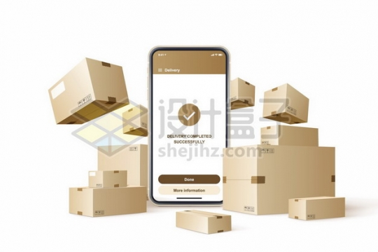 智能手机和各种纸箱子网上购物428741png免抠图片素材