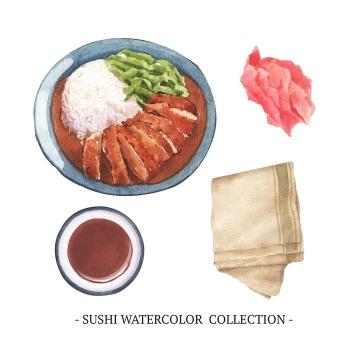 水彩画风格叉烧饭等美味美食图片免抠矢量素材