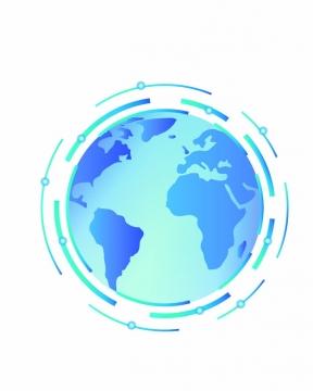 蓝色的地球和科技风格线条环绕633736png图片素材