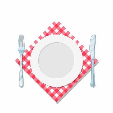 俯视视角的空白盘子瓷器和刀叉西餐用具放在格子布餐布上png图片免抠矢量素材