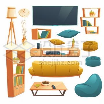 台灯挂钟电视机书架茶几多人沙发懒人沙发等卡通家具222614eps矢量图片素材