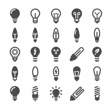 25款黑白色的电灯泡图案图标png图片免抠矢量素材