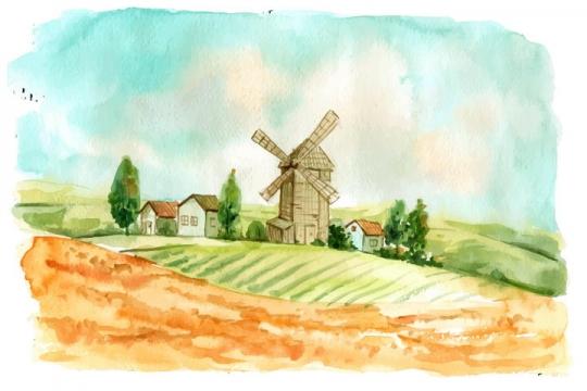油画风格优美的乡村大风车风景图图片免抠矢量素材