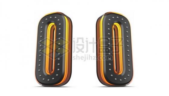 C4D风格黄色黑色3D立体数字零0艺术字体904120psd/png图片素材