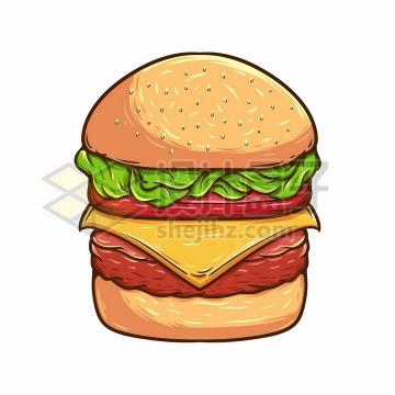 漫画风格牛肉汉堡包美味快餐美食彩绘插画png图片免抠矢量素材